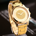 Luxury Gold Watch 2016 New Fashion Women Geneva Steel Quartz Watch Ladies Casual Wristwatch Men Business Watch Relogio Clock