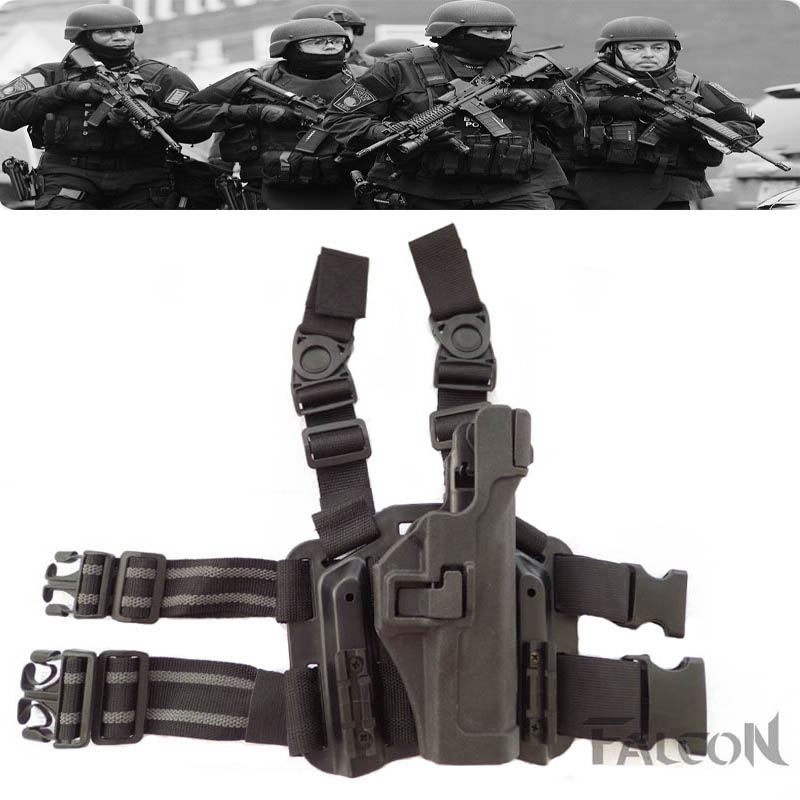 Prix pour Blackhawk LV3 Glock 17 18 19 22 23 31 32 tactique Militaire Puttee Pistol Leg Holster Magazine Pouch Polyuréthane Cuisse étui
