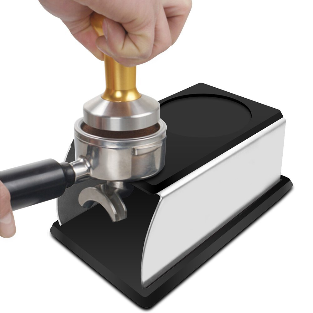 Realand Sturdy Stainless Steel Silicone <font><b>Espresso</b></font> Coffee Tamper Stand Barista Tool Tamping Holder Rack Shelf Coffee Machine Tool