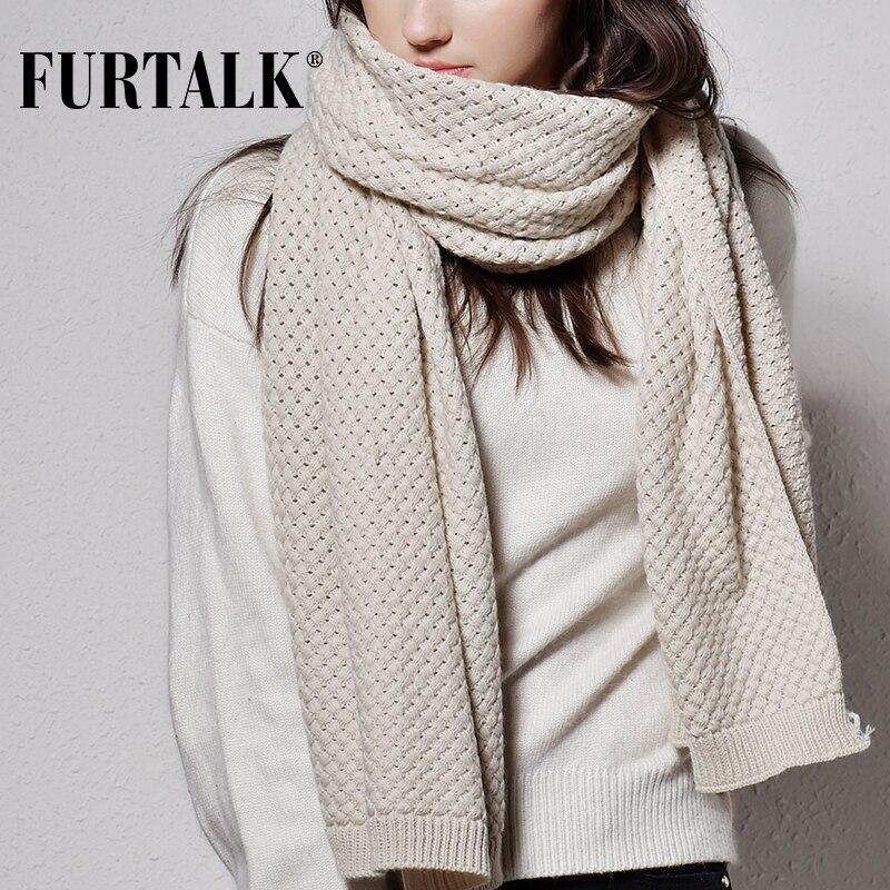 FURTALK Winter Women Scarf Luxury Brand Poncho Knitted Scarves Pashmina Female Shawl For Women
