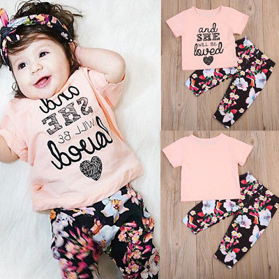 New Kids Baby Girls Short Sleeve Letters T-Shirt Tops+Floral Long Pants Autumn Cotton Two Piece Clothes Set Outfit