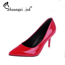 Shuangxi.jsd 2019 Spring Pumps Women Shoes High Heels Brand Fashion Pointed High-heeled 8cm Shoes Woman Plus Size Zapatos Mujer