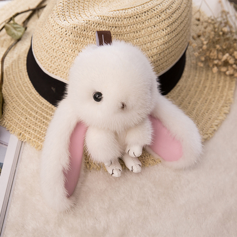 цена 2017 Fur Bunny Rabbit Keychain Fashion pom pom keychain Fox fu fur keychain Toy Doll rabbit keychain Mink Pendant Bag Car Charm
