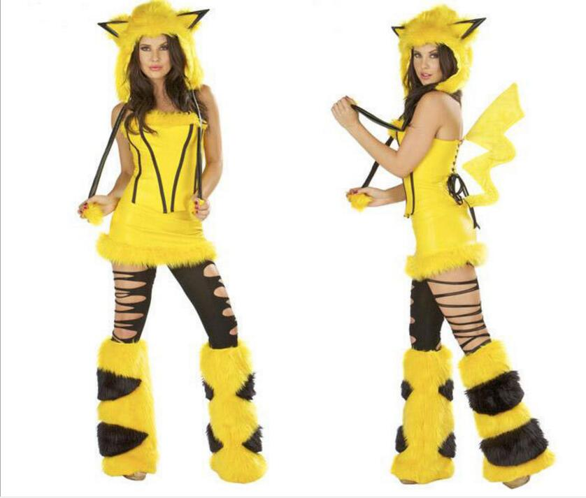 2016 Hot Pokemon Newest Christmas Lovely Sexy Yellow Pikachu Costume For Cosplay, Nightclub Bar And DS Party image