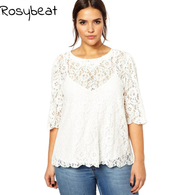 1f45117f7d10 White Lace Tops Women Summer T-shirts Plus Size Clothing 5xl 6xl Fashion  Elegant O neck Tee Shirts Large 3xl 4xl Ladies Tunics