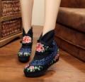 Старый Пекин Женщины Вышивка Сапоги Зима Китайский Винтаж Ретро Цветочные Вышитые Ткани Обувь Теплые Сапоги Размер 35-41 Черный красный