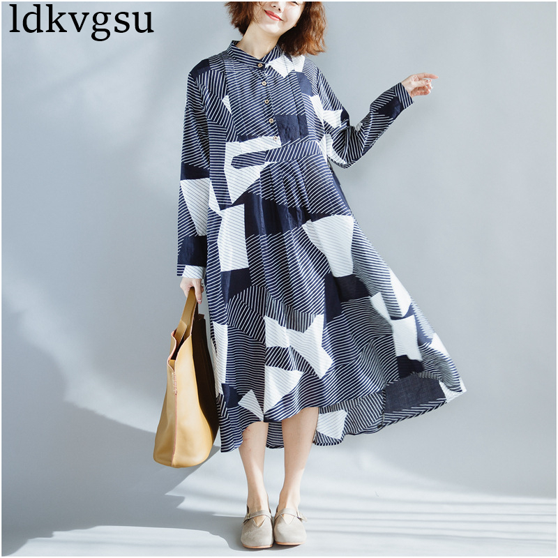 Hot Sale 2018 New Oversize Womens Dresses Casual Plus Size Spring