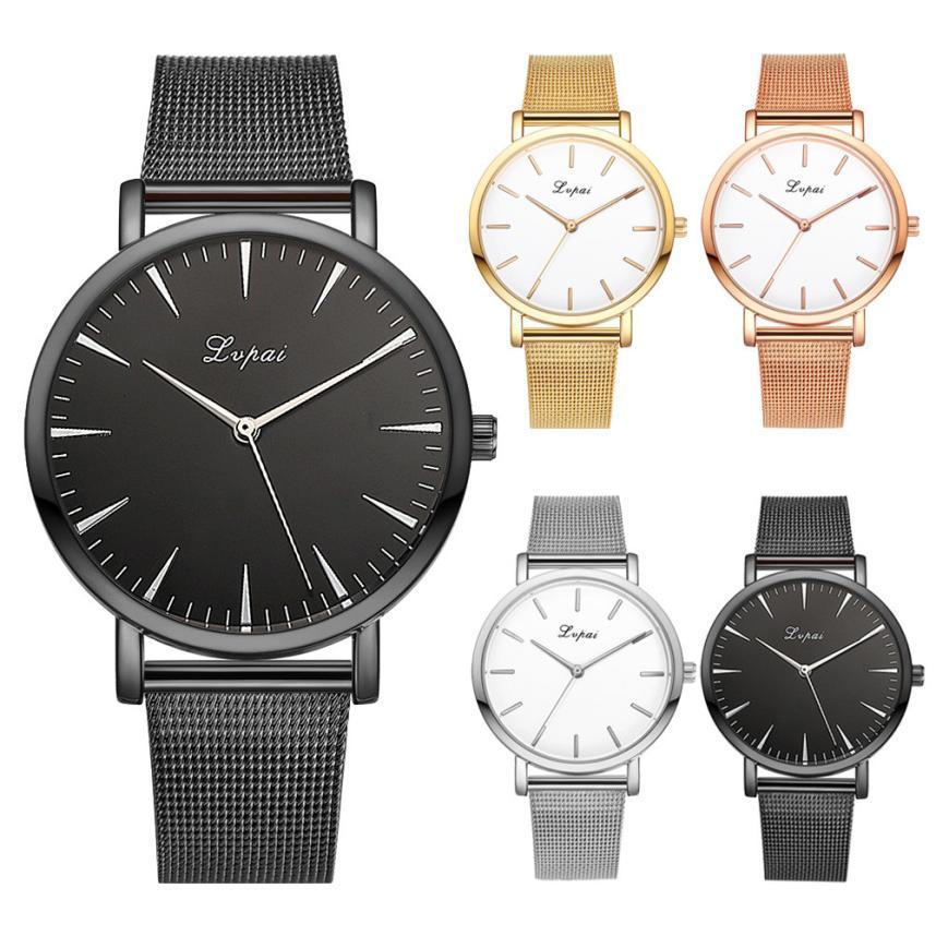 GENVIVIA Classic Fashion Design Mujeres Simple Oro Acero Inoxidable - Relojes para mujeres