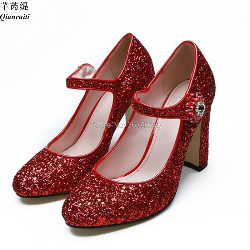 dd5c591aebb Qianruiti Women Red Glitter Pumps Round Toe Sparkle Block High Heels Mary  Janes Fashion Shoes Ankle Strap Dance Stilettos Dress