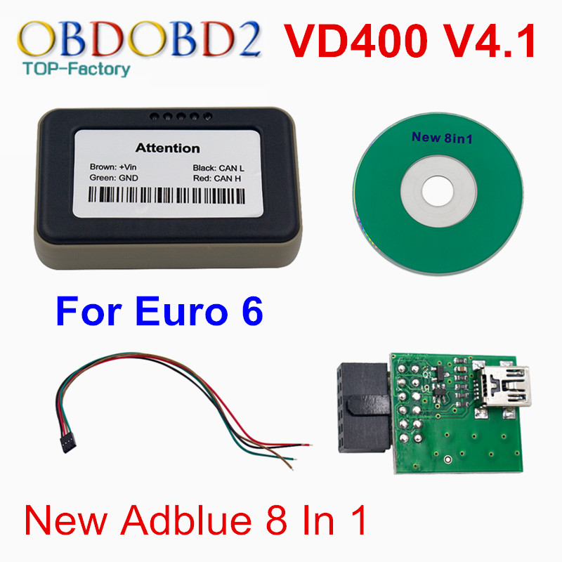 Best Quality Adblue VD400 V4.1 ADBLUE Emulator 8 in 1 Truck Diagnostic Tool Adblue 8in1 With NOx Sensor In Stock