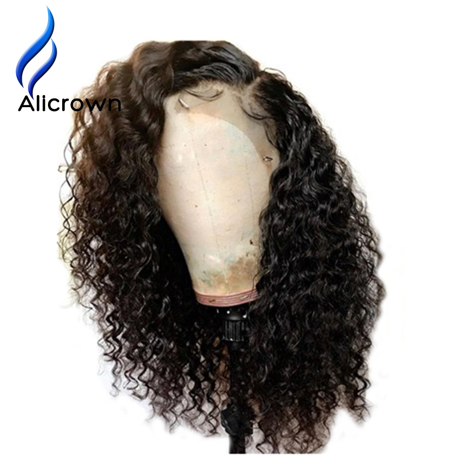 Image 2 - ALICROWN Curly Human Hair Wigs With Baby Hair Bleached Knots Brazilian 13*4 Lace Front Wigs Pre Plucked 130% Density Non  Remy-in Human Hair Lace Wigs from Hair Extensions & Wigs