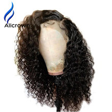 ALICROWN Curly Human Hair Wigs With Baby Hair Bleached Knots Brazilian Remy 13*4 Lace Frontal Wigs Pre-Plucked 130% Density(China)