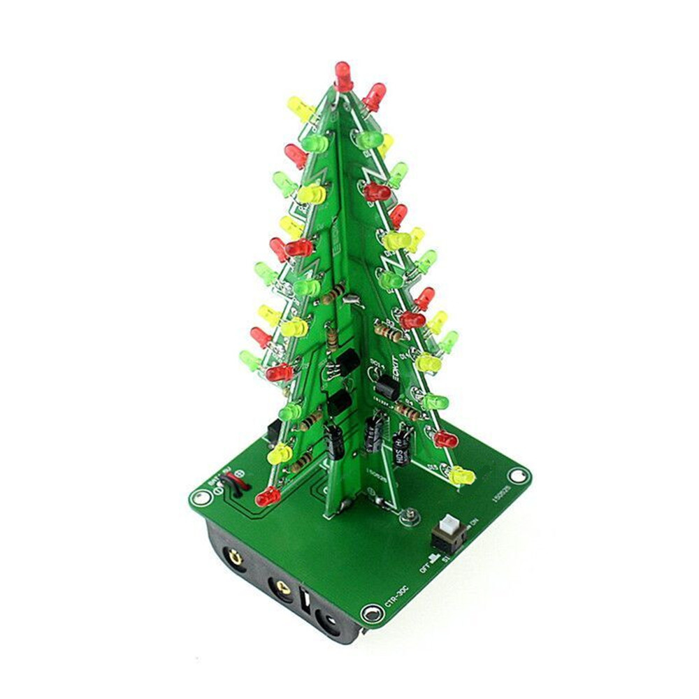 Image 4 - Three Dimensional 3D Christmas Tree LED DIY Kit Red/Green/Yellow RGB LED Flash Circuit Kit Electronic Fun Suite-in Integrated Circuits from Electronic Components & Supplies