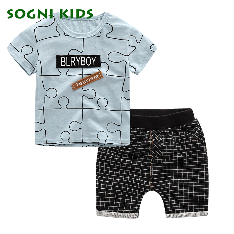 SOGNI KIDS Summer Baby Boy Clothes Kids Short Sleeve t-shirt+shorts 2pcs Set letter pattern boys clothing children clothing set