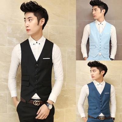 2016 Business Trendy Casual Slim Mens Suit Vest Fit Club Vintage Classic Black Blue Grey Solid Married Formal Pantalon Clothing