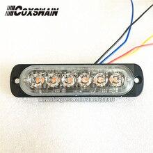 """רכב חיצוני אזהרת אור LED משטח הרכבה גריל אור, 0.3 """"דק, 17 דפוסי פלאש, 6*3 W LED, יכול סנכרון/לשנות פלאש (A6)"""