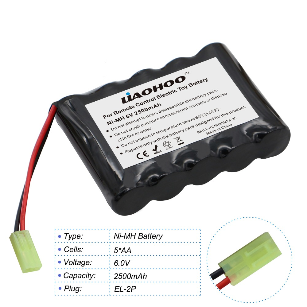 LiaoHOO 6V 2500mAh Rechargeable NiMH AA Battery Pack with EL 2P Plug for Double Eagle E703-001 RC Car, Remote Control Toys