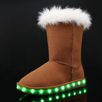 2016 Kids Luminous Shoes Girls Boys Boots LED Winter Children Boots Thick Warm Snow Boots USB