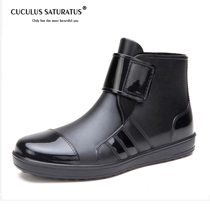 Cuculus 2018 Man Rain boots heels shoes man rain shoes height increased wedges shoes high top rain boots mixed color KL980 clouds without rain