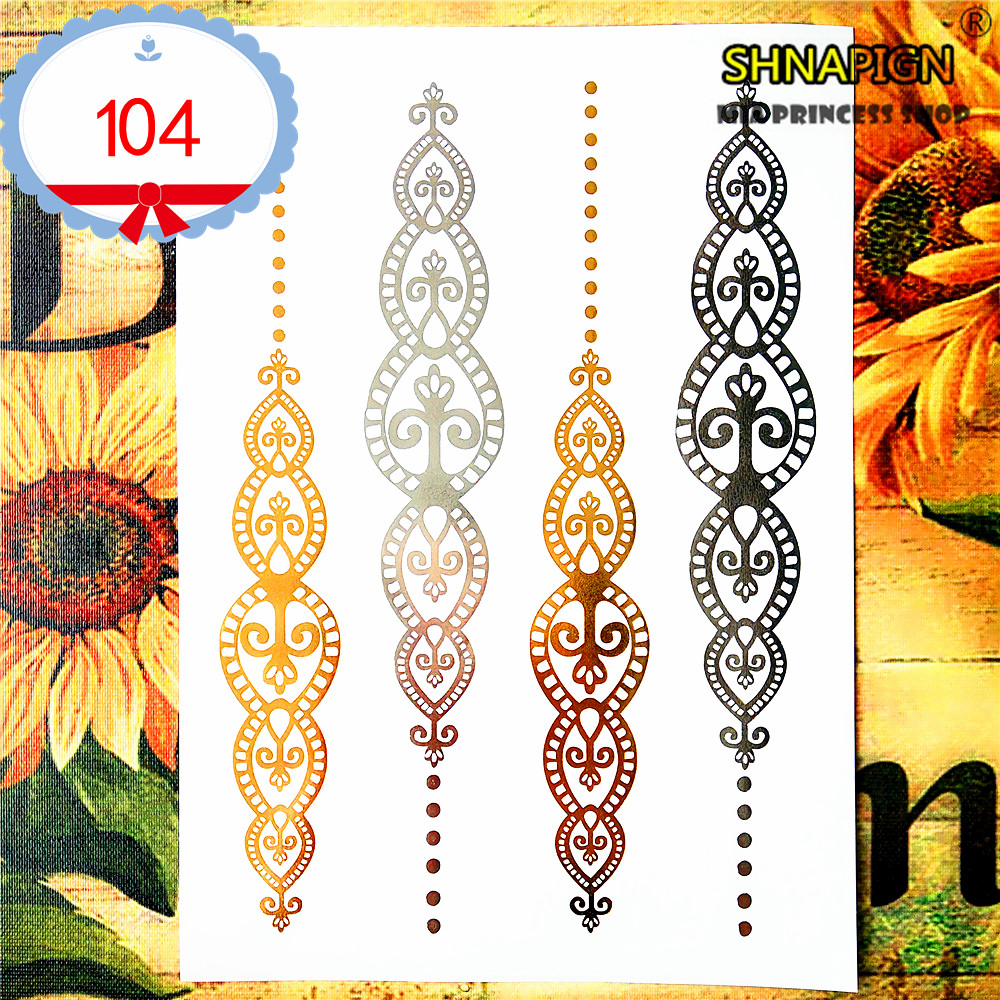SHNAPIGN 25 style Temporary Tattoo Body Art Gold silver totem Designs Flash Tattoo Sticker Keep 3 5 days Waterproof 21 15cm in Temporary Tattoos from Beauty Health