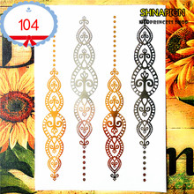 hot deal buy 25 style temporary tattoo body art, gold silver totem designs, flash tattoo sticker keep 3-5 days waterproof 21*15cm