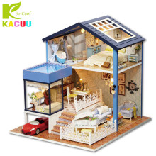 KACUU Dollhouse Original Box Miniature Wooden Doll House With DIY Furniture Fidget Toys For Kids Children Birthday Gift Seattle(China)