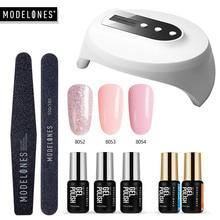 Modelones 36W UV Led Lamp Cure UV Gel Polish Losweken 3 Kleuren Nail Gel Base Coat Top Coat nail Manicure Kit Tools Set