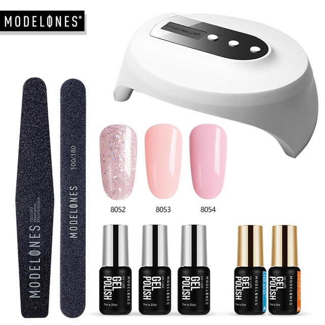 Modelones 36W UV Led Lamp Cure UV Gel Polish Soak Off 3 Colors Nail Gel Base Coat Top Coat Nail Manicure Kit Tools Set