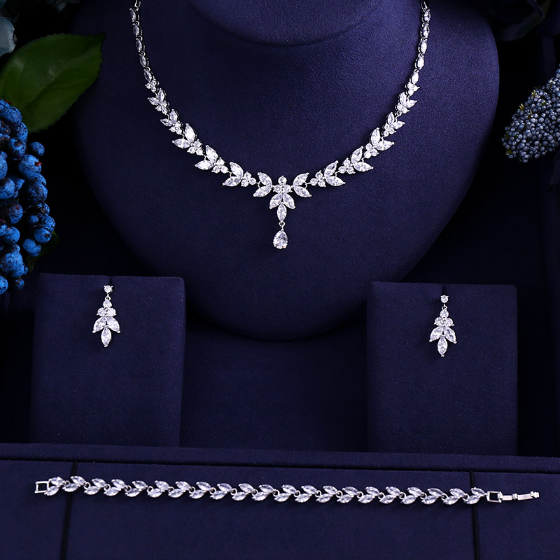 Necklace Earrings Dress-Accessories Jewelry-Sets Cubic-Zircon Wedding-Bridal Brilliant
