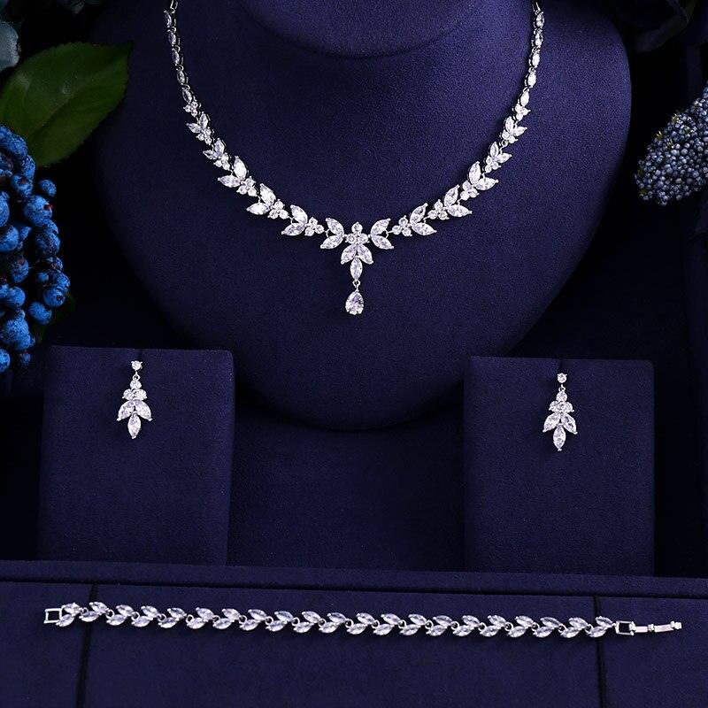 Willensstark Neueste Luxus Sparking Brilliant Cubic Zirkon Klar Halskette Ohrringe Hochzeit Braut Schmuck Sets Kleid Zubehör Brautschmuck Sets