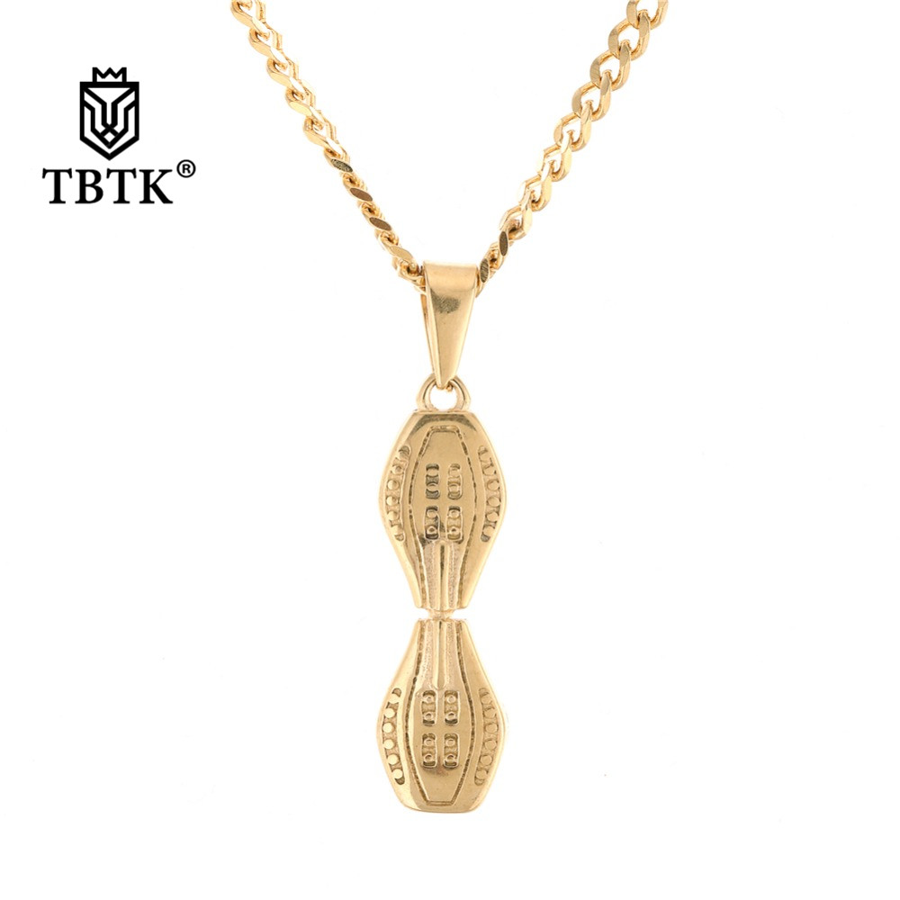 Pendants Tbtk Mini Skateboard Pendant Necklace Gold/silver Stainless Steel Metal Sporty Trendy Fashion Young Mens Jewelry Simple Pendant Necklaces & Pendants