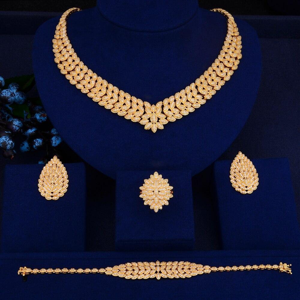 SisCathy 4 pièces nouveau luxe magnifique boucles d'oreilles Bracelet bague collier ensembles de bijoux pour les femmes romantique mariée bijoux de mariage - 2
