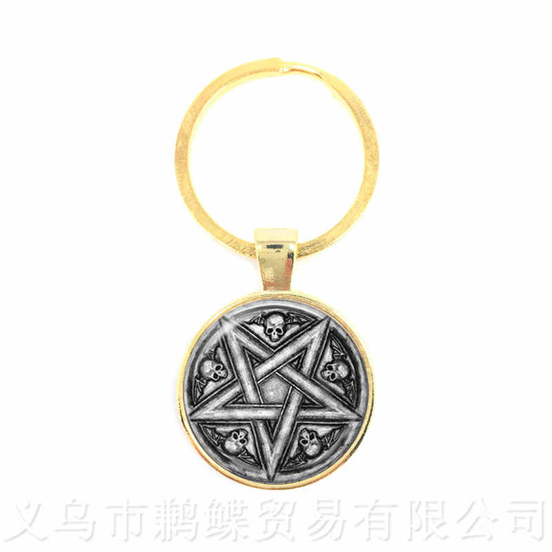 Supernatural Wickedest Pentacle Satanic Keychain Glass Cabochon Goth Pendant Keyring Wiccan Star Gift For Pray for happines