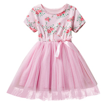 2017 Baby Girl Dress Solid Lace Children School Wedding Party Clothing Dresses Romper Short Sleeve Ball Gown Print Clothes Dress