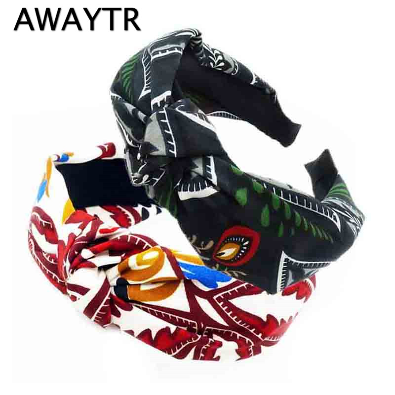 AWAYTR Women Girl Bowknot Wide Hairband Headband Boho Floral Print Hair Accessories Cloth Head Buckle Head Hoop Headwear