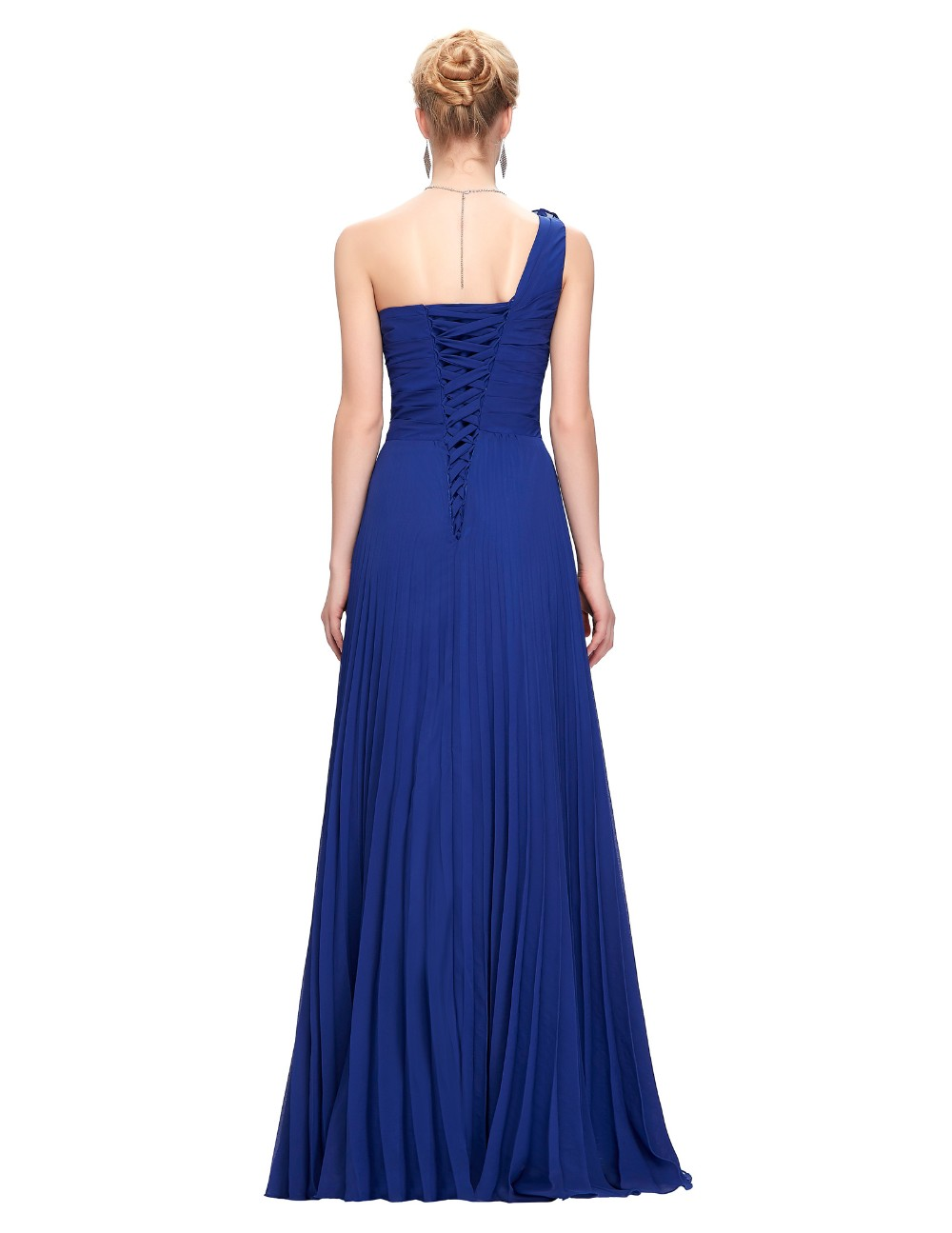 Grace Karin Chiffon Long Evening Dress One Shoulder Pleated Red Green Purple Royal Blue Formal Evening Dress Party Gowns 2018 9