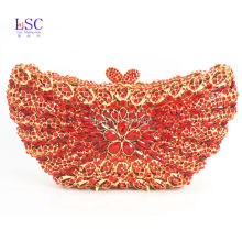 LaiSC Red Butterfly Shape Evening Bag Rhinestones Clutch Bag Handmade Diamante Bling Bag Pochette Party Purse Wedding Bag SC234