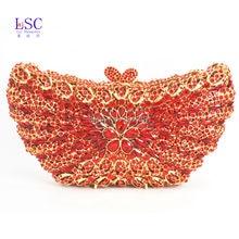 LaiSC Red Butterfly Shape Evening Bag Rhinestones Clutch Bag Handmade Diamante Bling Bag Pochette Party Purse Wedding Bag SC234