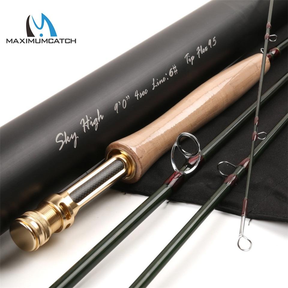 Máxima captura Skyhigh 6-10 pies 2-8wt caña de pescar grafito IM12 Toray carbono 3 Unid 4 PC caña de mosca con tubo de carbono