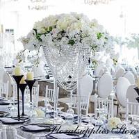 2PCS Beautiful 80cm Tall Wedding Crystal Centerpiece Acrylic Flower Stand Table Decoration Wedding Chandelier
