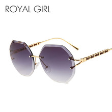 ROYAL GIRL Rimless Sunglasses Women New Brand Vintage Trimming Sun Glasses Female Leather Decorative Frame Oculos UV400 SS598