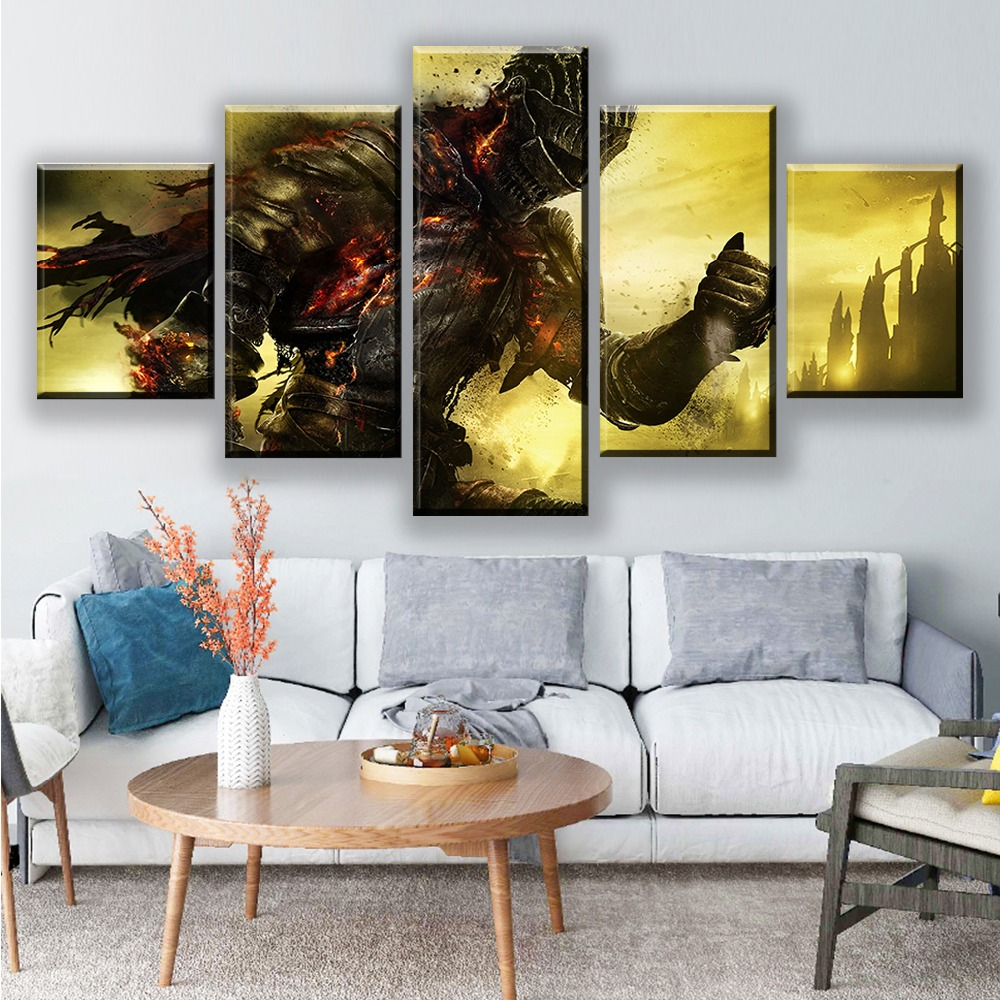 Art Oil Painting Print On Canvas Home Decor Light And Shadow Swordsman Framed