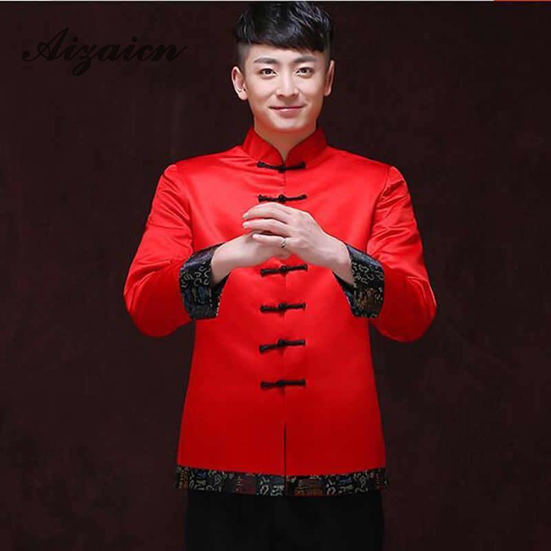 Röda Traditionella Kinesiska Kläder För Män Bröllop Ancient - Nationella kläder - Foto 3