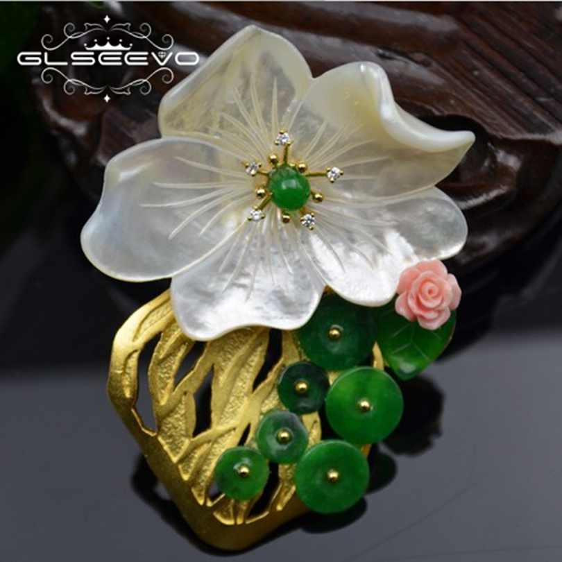 GLSEEVO Natural Mother Of Pearl Flower Brooch Pins Green Jade Brooches For Women Dual Use Designer
