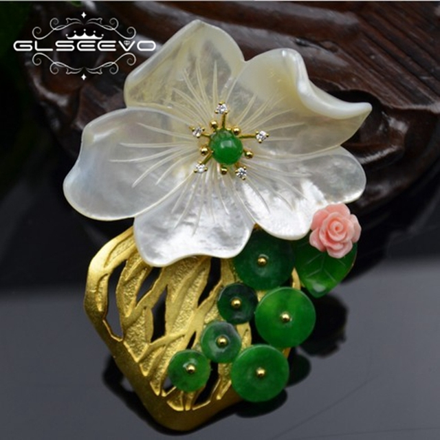 329445f4c GLSEEVO Natural Mother Of Pearl Flower Brooch Pins Green Jade Brooches For Women  Dual Use Designer Fine Jewelry Luxury GO0234