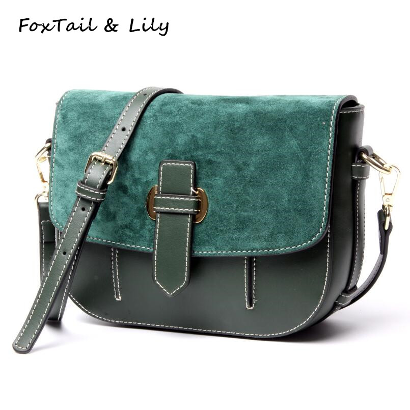 FoxTail & Lily Nubuck Cowhide Ladies Small Shoulder Bag Genuine Leather Women Crossbody Messenger Bags Luxury Designer Handbags feral cat women small shell bag pvc zipper single shoulder bag luxury quality ladies hand bags girls designer crossbody bag tas