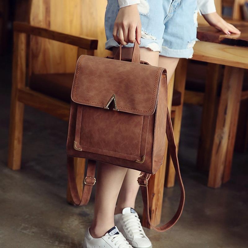 все цены на Women Backpacks Women's PU Leather Backpack Female School Shoulder bags Teenage girls college student casual big bag 1v11223