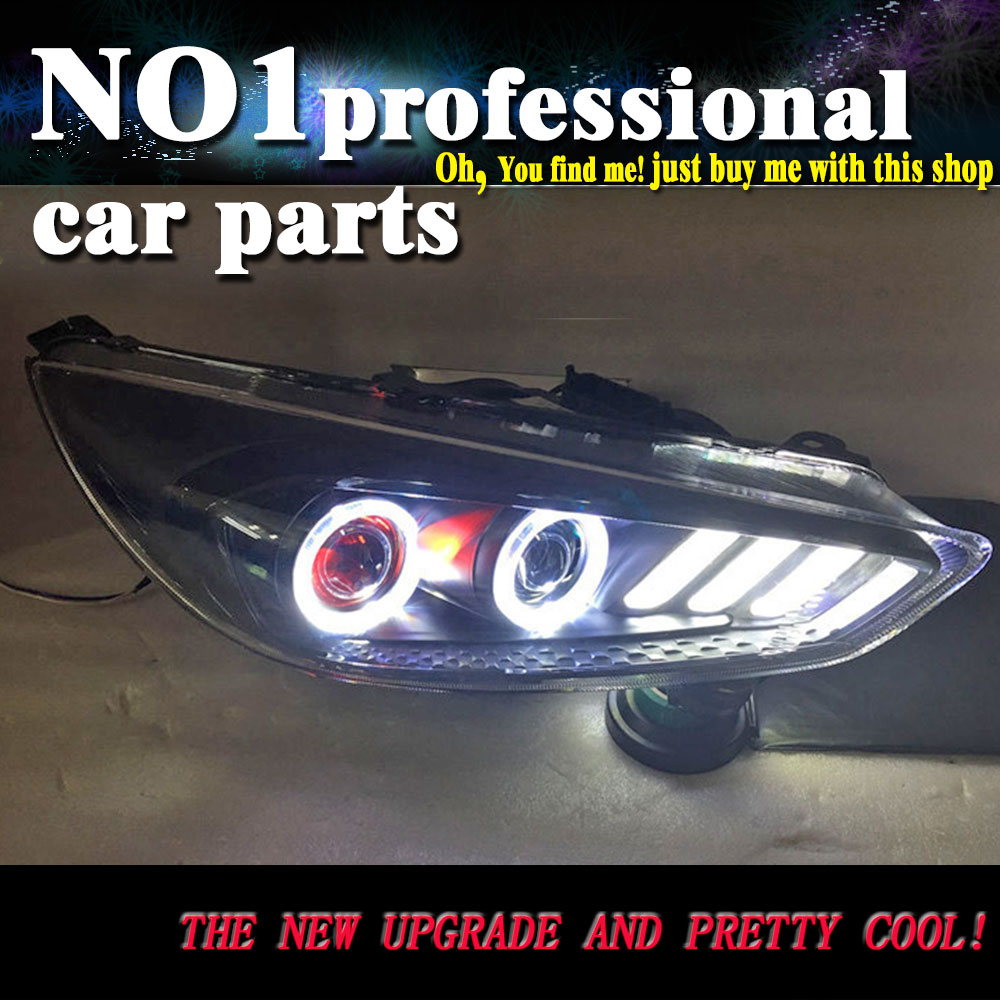 Car Head Lamp For Ford Focus MK3 Headlights 2015 2017 LED Headlight Round Angel Eyes DRL Yellow Moving Turn Signal Front light