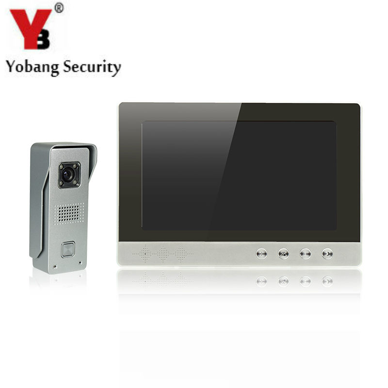 YobangSecurity 10-Inch LCD Video Doorbell Intercom Door Phone Camera System Kit with 1 Camera 1 Monitor door intercom video cam doorbell door bell with 4 inch tft color monitor 1200tvl camera