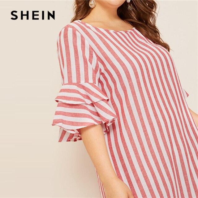 SHEIN Plus Size Bell Sleeve Ruffle Trim Striped Maxi Dress 2019 Women Spring Summer Casual Ruffle Hem Half Sleeve Tunic Dresses 4
